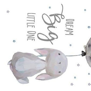 "7"" Dream Big Little One  Bunny with Quote / 90 Degrees"