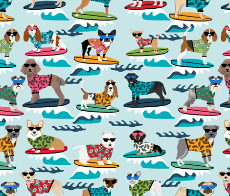 surfing dogs - cute summer surf dogs  fabric by petfriendly on Spoonflower - custom fabric