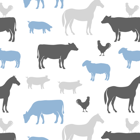 farm animal medley - boy blue and grey fabric by littlearrowdesign on Spoonflower - custom fabric