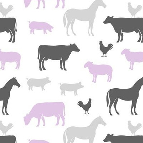 farm animal medley - purple and grey