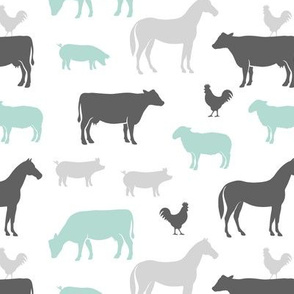 farm animal medley - dark mint  and grey