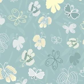 Butterflies-Mint Green