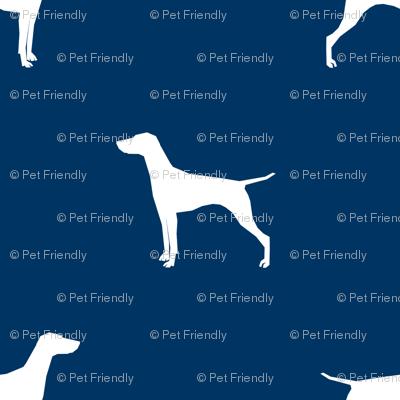 Vizsla (Smaller) dog fabric silhouette navy