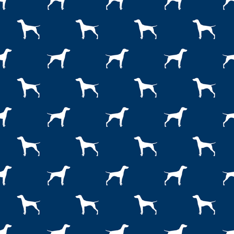 Vizsla (Smaller) dog fabric silhouette navy fabric by petfriendly on Spoonflower - custom fabric