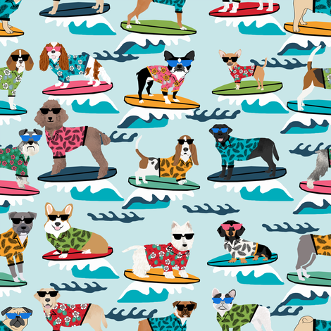 surfing dogs summer beach fun dogs - small  fabric by petfriendly on Spoonflower - custom fabric