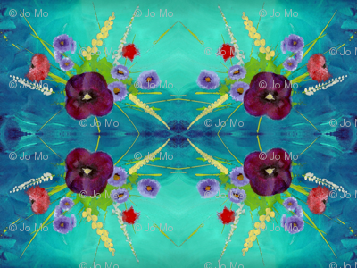 Pansy Bouquet Turquoise Sky