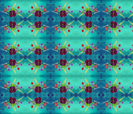 Pansy Bouquet Turquoise Sky fabric by peaceofpi on Spoonflower - custom fabric