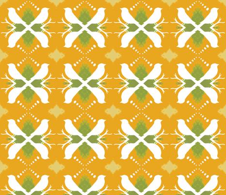 Olive Ochre Aviary fabric by peaceofpi on Spoonflower - custom fabric