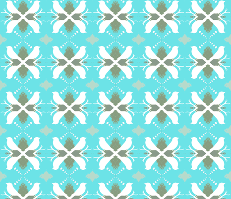 Turquoise and Olive Aviary fabric by peaceofpi on Spoonflower - custom fabric