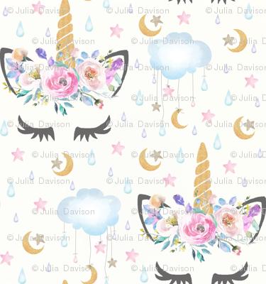 "2"" moon and stars sleepy unicorn off white"