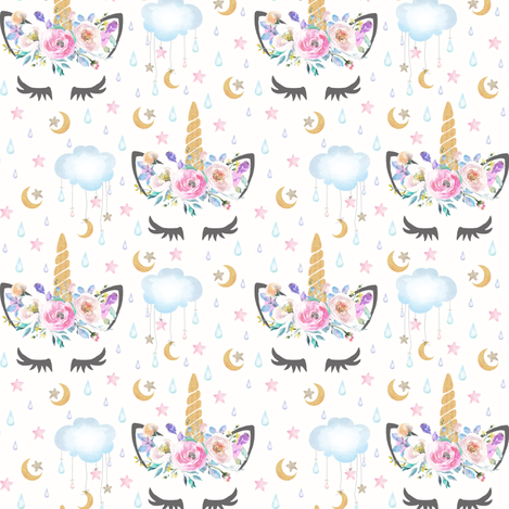 "2"" moon and stars sleepy unicorn off white fabric by lil'faye on Spoonflower - custom fabric"
