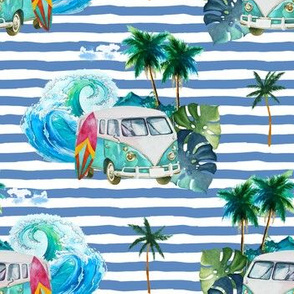"""7"""" Summer Road Tripping Palm Leaves /  Blue Stripes"""