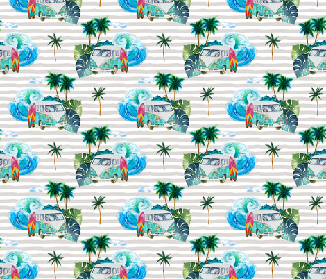 "7"" Summer Road Tripping Palm Leaves / Grey stripes fabric by shopcabin on Spoonflower - custom fabric"