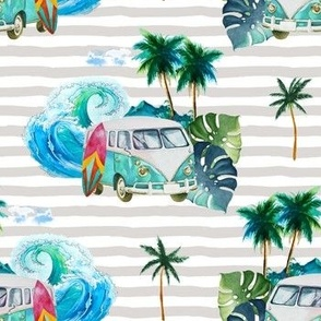 """7"""" Summer Road Tripping Palm Leaves / Grey stripes"""