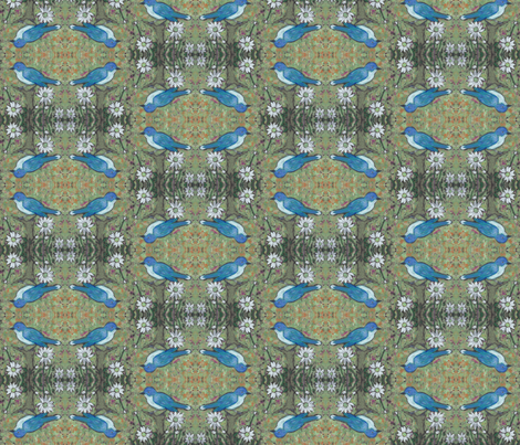Bluejay Daisy in Olive fabric by peaceofpi on Spoonflower - custom fabric