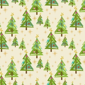 Retro Christmas Trees with stars