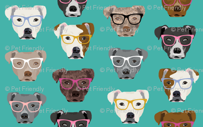 pitbull in glasses - cute dogs pitty fabric pitbull dog design - turquoise