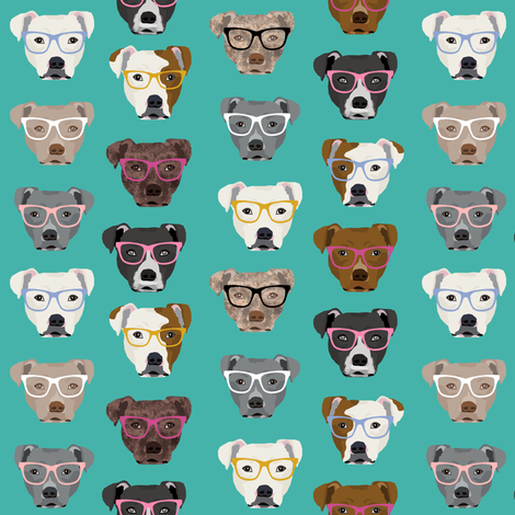 pitbull in glasses - cute dogs pitty fabric pitbull dog design - turquoise fabric by petfriendly on Spoonflower - custom fabric