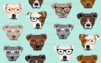 pitbull in glasses - cute dogs pitty fabric pitbull dog design - mint