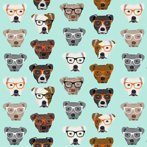 pitbull in glasses - cute dogs pitty fabric pitbull dog design - mint fabric by petfriendly on Spoonflower - custom fabric