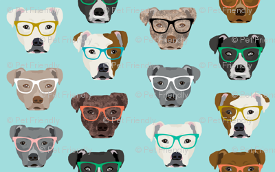 pitbull heads pitbull in glasses - cute dogs pitty fabric pitbull dog design - blue tint
