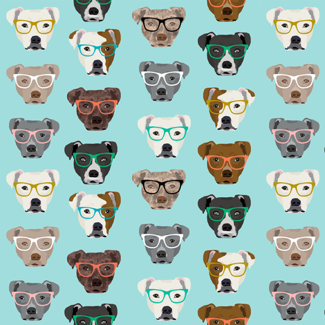 pitbull heads pitbull in glasses - cute dogs pitty fabric pitbull dog design - blue tint fabric by petfriendly on Spoonflower - custom fabric