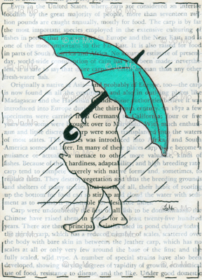 Turquoise Umbrella Girl Book Page