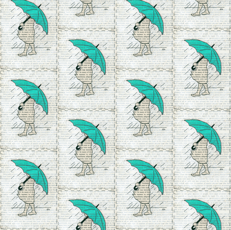 Turquoise Umbrella Girl Book Page fabric by peaceofpi on Spoonflower - custom fabric