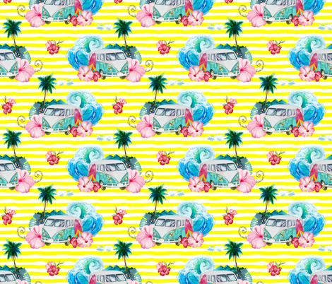 "7"" SummerRoad Tripping with Flowers / Bright Yellow fabric by shopcabin on Spoonflower - custom fabric"