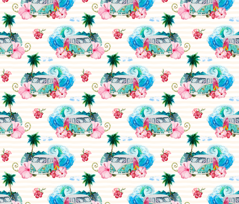Summer Road Tripping with Flowers tan lines fabric by shopcabin on Spoonflower - custom fabric