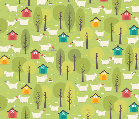 Dogs in the Park fabric by matite on Spoonflower - custom fabric