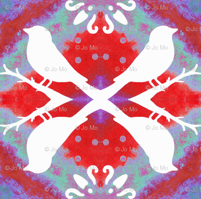 Poppy Red Aviary White Birds