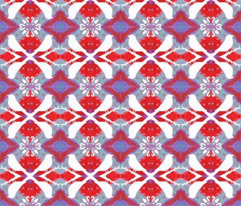 Poppy Red Aviary White Birds fabric by peaceofpi on Spoonflower - custom fabric