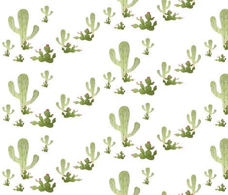 cactus hand drawn fabric by sproutz on Spoonflower - custom fabric