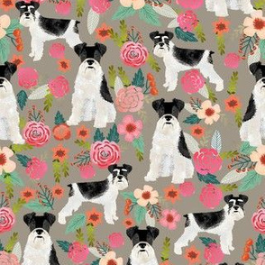 schnauzer floral fabric - parti black and white coat - neutral