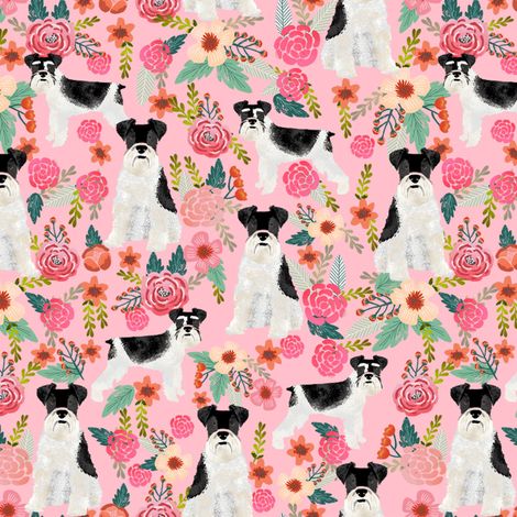 schnauzer floral fabric - parti black and white coat - pink fabric by petfriendly on Spoonflower - custom fabric