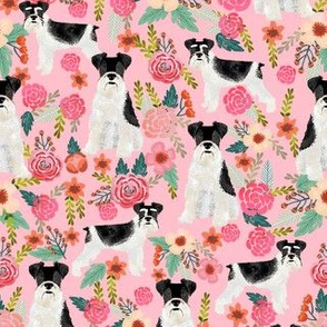schnauzer floral fabric - parti black and white coat - pink