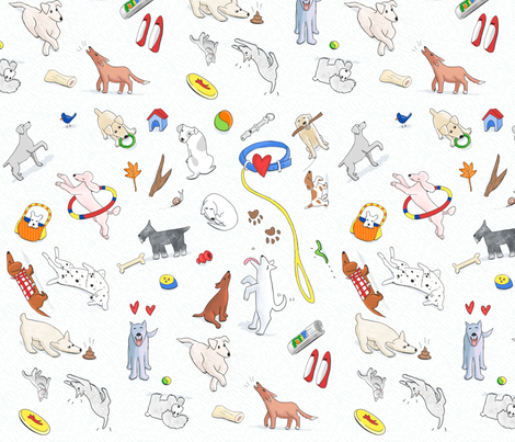 Dogs, dogs, everywhere fabric by artnan on Spoonflower - custom fabric