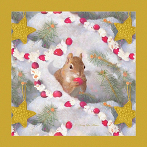 Panel Art of Squirrel in Snow with Cranberries