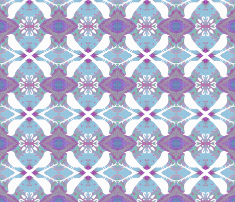 Birds on Faded Lavender Blue fabric by peaceofpi on Spoonflower - custom fabric