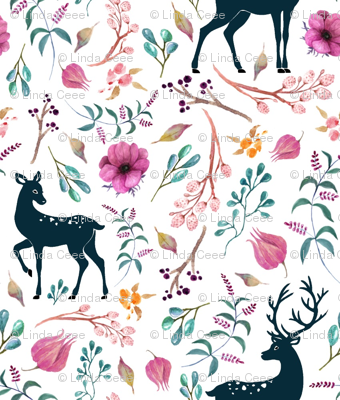 Deer & Pretty Floral - Flowers Woodland Baby Girl Nursery Bedding Crib Sheets Blanket