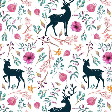 Deer & Pretty Floral - Flowers Woodland Baby Girl Nursery Bedding Crib Sheets Blanket fabric by gingerlous on Spoonflower - custom fabric