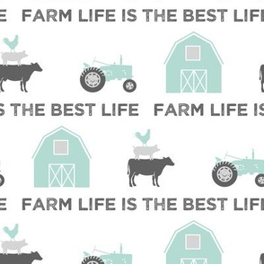 farm life is the best life - grey and dark mint farm collection