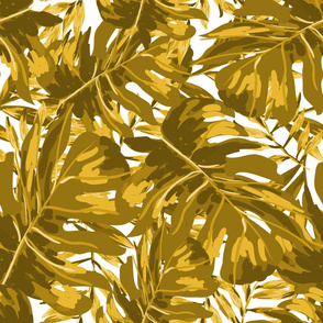 """36"""" Tropical Leaves - Gold"""