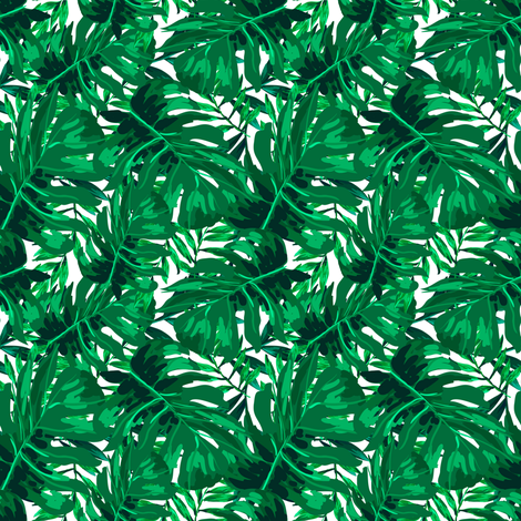 """4"""" Tropical Leaves - Bright Green fabric by shopcabin on Spoonflower - custom fabric"""