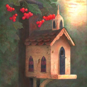 Panel Art of Birdhouse at Sunset