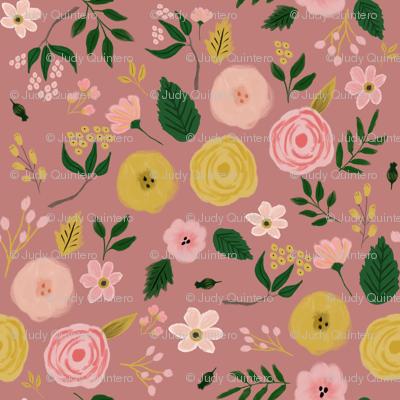 """1.5"""" Adley Bouquet - Dusty Rose"""