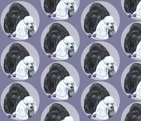 Black and white poodle dogs  on blue fabric by bow_lady_design on Spoonflower - custom fabric