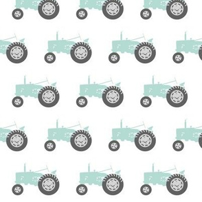dark mint tractors - farm fabric