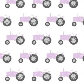 purple tractors - farm fabric